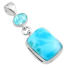 16.87cts natural blue larimar octagan topaz 925 sterling silver pendant t24552