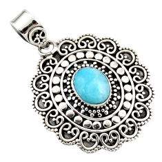 Natural blue larimar oval 925 sterling silver boho pendant jewelry r46965
