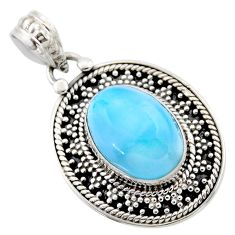 6.31cts natural blue larimar oval 925 sterling silver pendant jewelry r53166