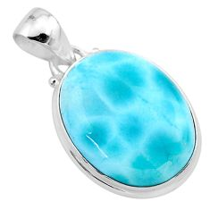15.96cts natural blue larimar oval 925 sterling silver pendant jewelry t24392