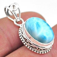 6.82cts natural blue larimar oval 925 sterling silver pendant jewelry t46768