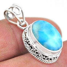 6.51cts natural blue larimar oval 925 sterling silver pendant jewelry t46770