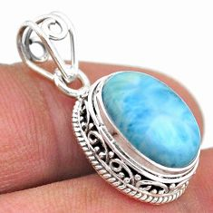 6.55cts natural blue larimar oval 925 sterling silver pendant jewelry t46774