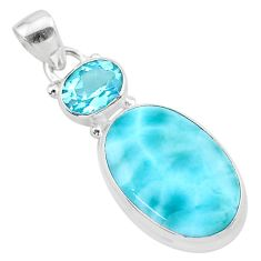 13.15cts natural blue larimar oval topaz 925 sterling silver pendant t24484
