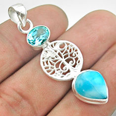 7.60cts natural blue larimar pear topaz 925 silver tree of life pendant t56679