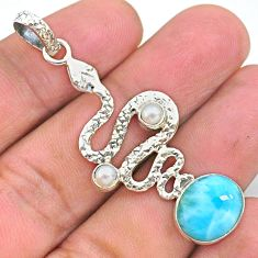 7.30cts natural blue larimar pearl 925 sterling silver snake pendant t35542