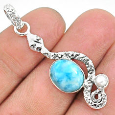 5.11cts natural blue larimar pearl 925 sterling silver snake pendant t35662