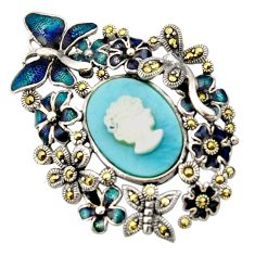 11.29cts natural blue larimar pearl enamel 925 silver butterfly pendant c9923