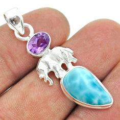 6.45cts natural blue larimar purple amethyst 925 silver elephant pendant t56614