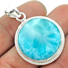 19.23cts natural blue larimar round 925 sterling silver pendant jewelry t56466