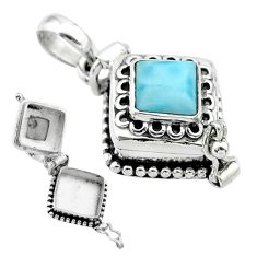 2.51cts natural blue larimar square sterling silver poison box pendant t52543