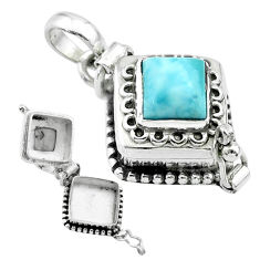 2.62cts natural blue larimar square sterling silver poison box pendant t52544