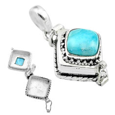 3.05cts natural blue larimar square sterling silver poison box pendant t52548
