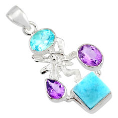 8.77cts natural blue larimar topaz 925 silver angel wings fairy pendant r78399