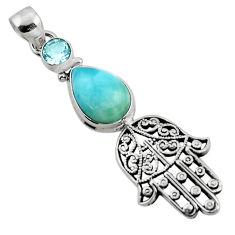 6.23cts natural blue larimar topaz 925 silver hand of god hamsa pendant r52788
