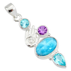 8.42cts natural blue larimar topaz 925 silver hand of god hamsa pendant r78397