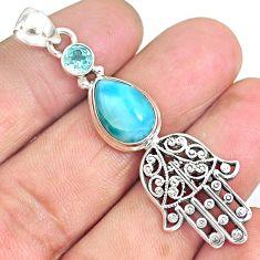 6.85cts natural blue larimar topaz 925 silver hand of god hamsa pendant r90321