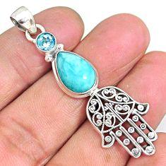 6.76cts natural blue larimar topaz 925 silver hand of god hamsa pendant r90342