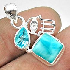6.52cts natural blue larimar topaz 925 silver hand of god hamsa pendant t56674