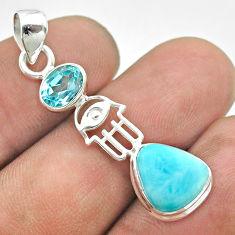 7.35cts natural blue larimar topaz 925 silver hand of god hamsa pendant t56682