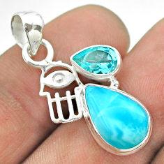 7.01cts natural blue larimar topaz 925 silver hand of god hamsa pendant t56691