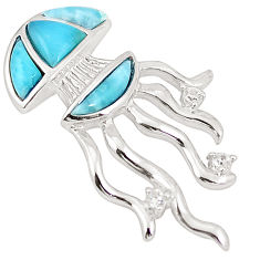 Natural blue larimar topaz 925 silver octopus pendant jewelry a76428 c15371