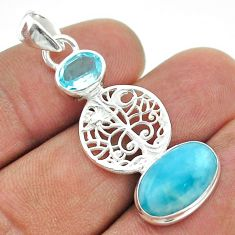 5.82cts natural blue larimar topaz 925 silver tree of life pendant t56602