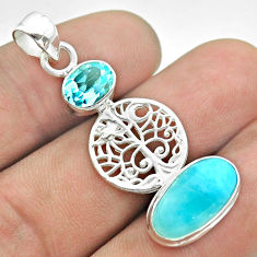 7.97cts natural blue larimar topaz 925 silver tree of life pendant t56669