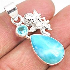 10.29cts natural blue larimar topaz 925 sterling silver angel pendant r67969