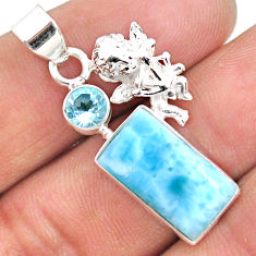 6.84cts natural blue larimar topaz 925 sterling silver angel pendant r68019