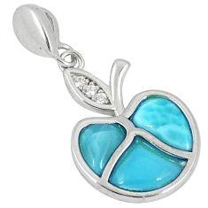 Natural blue larimar topaz 925 sterling silver apple charm pendant a40368 c15360