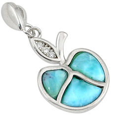 Natural blue larimar topaz 925 sterling silver apple pendant a32772 c15341
