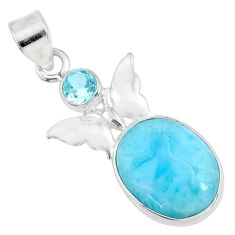 9.98cts natural blue larimar topaz 925 sterling silver butterfly pendant r69351