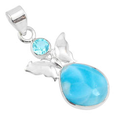 9.37cts natural blue larimar topaz 925 sterling silver butterfly pendant r69352