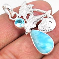 8.37cts natural blue larimar topaz 925 sterling silver dolphin pendant r67979