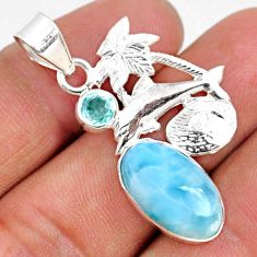 8.94cts natural blue larimar topaz 925 sterling silver dolphin pendant r68137