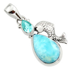 13.73cts natural blue larimar topaz 925 sterling silver fish pendant r43779