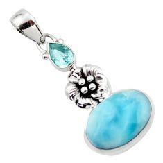 11.73cts natural blue larimar topaz 925 sterling silver flower pendant r43792