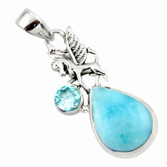 13.48cts natural blue larimar topaz 925 sterling silver horse pendant r43771