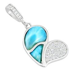 Natural blue larimar topaz 925 sterling silver pendant jewelry a46822 c15342