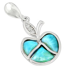 Natural blue larimar topaz 925 sterling silver pendant jewelry a60646 c15349