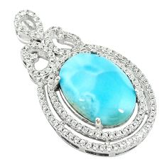 Natural blue larimar topaz 925 sterling silver pendant jewelry a68785 c14040
