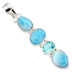 10.79cts natural blue larimar topaz 925 sterling silver pendant jewelry d43756