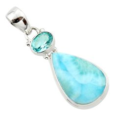 14.15cts natural blue larimar topaz 925 sterling silver pendant jewelry r43703