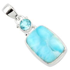 14.01cts natural blue larimar topaz 925 sterling silver pendant jewelry r43709