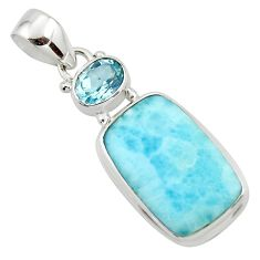 13.54cts natural blue larimar topaz 925 sterling silver pendant jewelry r43710