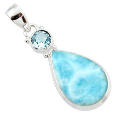 13.82cts natural blue larimar topaz 925 sterling silver pendant jewelry r43711