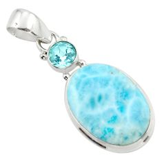 13.73cts natural blue larimar topaz 925 sterling silver pendant jewelry r43715