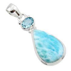 13.58cts natural blue larimar topaz 925 sterling silver pendant jewelry r43720