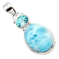 14.31cts natural blue larimar topaz 925 sterling silver pendant jewelry r43721